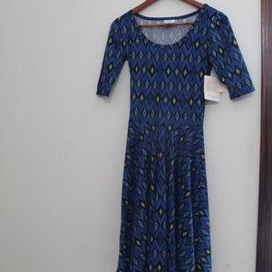 Midi Length Blue Diamond Pattern LuLuRoe Dress